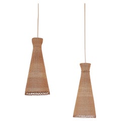 2 Midcentury Swedish Rattan Pendants Lamps, 1950s