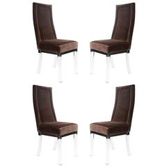 Set of Four Lucite and Chrome Dining Chairs, Circa 1970s