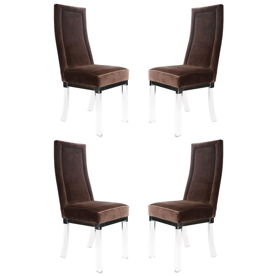 Chrome Dining Room Chairs: Set Of Four Charles Hollis Jones Lucite And Chrome Dining