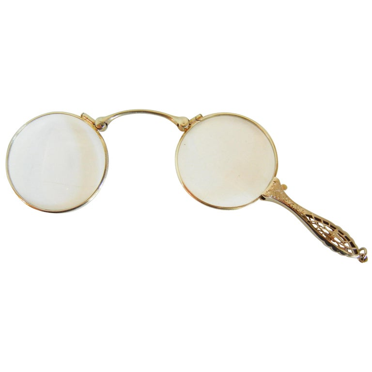 Folding Antique Lorgnette in 14-Karat White Gold For Sale