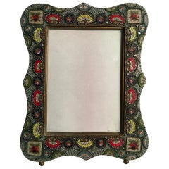 Late 19th Century Brass Venetian Multicolors Murrine Victorian Style Photo Frame