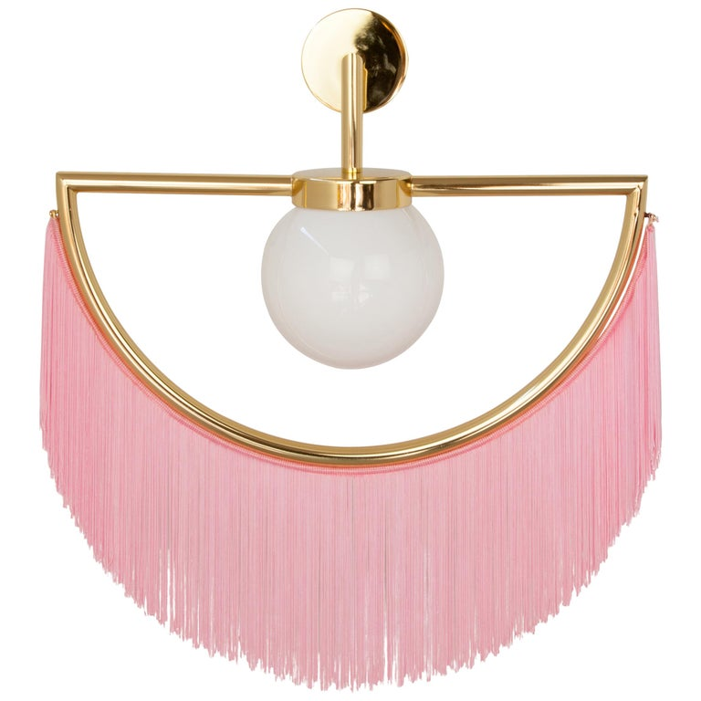 Wink Gold-Plated Wall Lamp with Pink Fringes