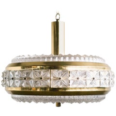 Orrefors Chrystal and Brass Chandelier