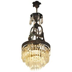 Small Crystal Chandelier with Cast Body