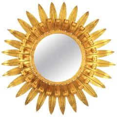Large Spanish 1960s Double Layered Eyelash Bicolor Gilt Iron Sunburst Mirror