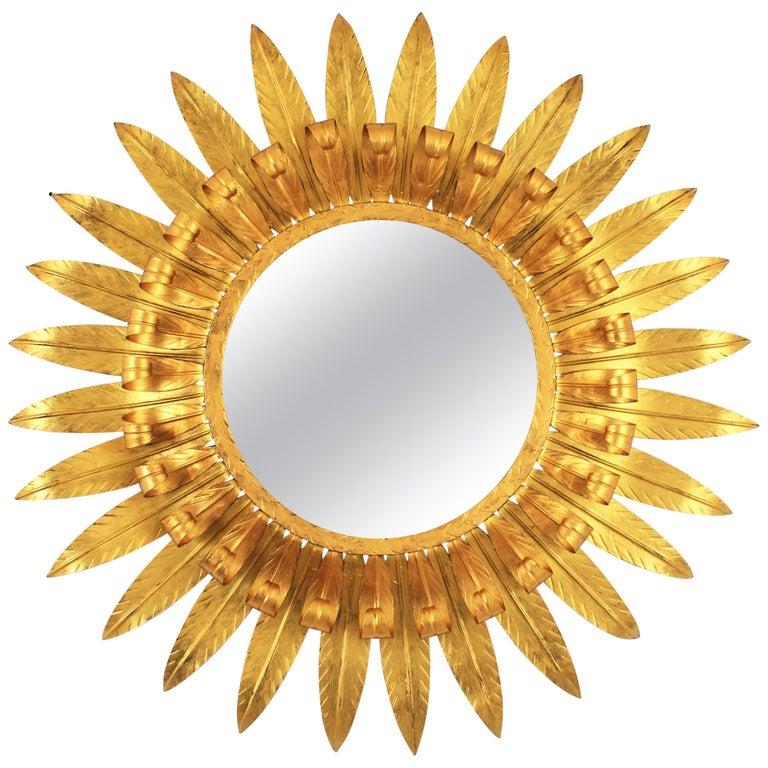 Large Spanish 1960s Double Layered Eyelash Bicolor Gilt Iron Sunburst Mirror For Sale
