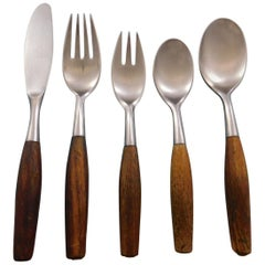 Fjord by Dansk Germany Stainless Steel Teak Flatware Set 8 Service 40 Pcs Modern
