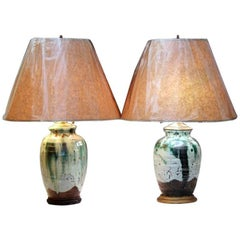 Near Pair of Awaji Pottery Japanese Drip Glaze Wabi Sabi Zen Meditation Lamps