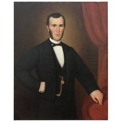 Signed and Dated Large 19th Century Portrait of a Gentleman