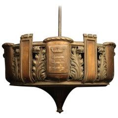 English Copper 8-Light Antique Uplighter
