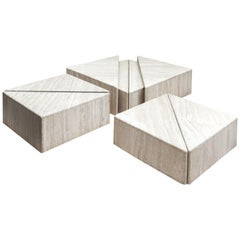 Large Set of Eight Travertine Elements Forming One or More Coffee Tables