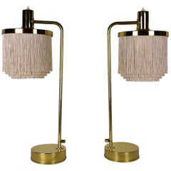 Hans Agne Jakobsson Model B140 Pair of Silk Fringe Brass Table Lamps