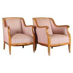 Biedermeier Armchairs Pair Swedish Late 19th Century Honey Color Bentwood Arms