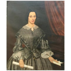 Signed and Dated Large 19th Century Portrait of a Lady with Her Piano