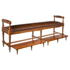 Over French 19th Century Walnut and Embossed Leather Billiard Room Bench
