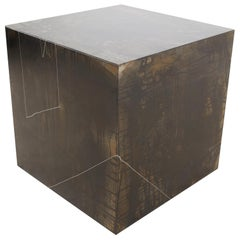 """Drawn Cube"" Minimal, Patina, Steel Side Table with Artists Hand Etched Shapes"