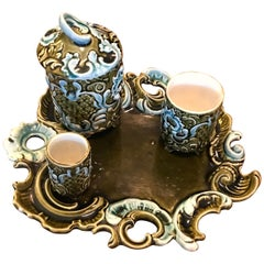 Art Nouveau Cigar Barbotine Set by Jean Bernard De Bruyn, 1900s