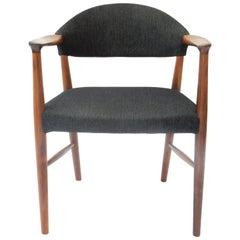Danish 1950s Rosewood Armchair with Grey Fabric by Kurt Olsen