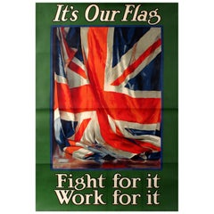 Original Vintage World War One Recruitment Poster WWI It's Our Flag Fight for It