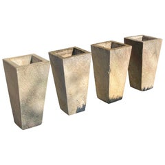 Two Pairs of Tall Contemporary English Cast Stone Planters