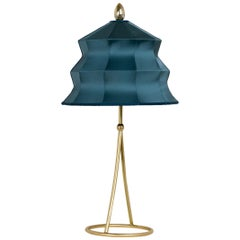 """Pagoda"" Table Lamp, in Brass Matt Finish, Sky Satin Silk, Silver Crystal Tip"