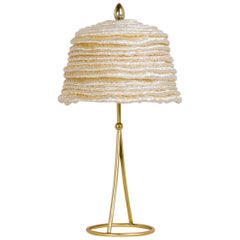 """Pagoda"" Table Lamp, in Brass Matt Finish, Doubled Platinum Raffia, Crystal Tip"