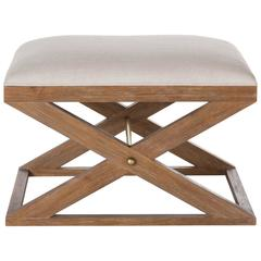 Teak and Brass Upholstered Stool
