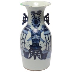 Chinese Kangxi Revival Porcelain Vase in Blue and White Underglaze