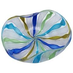 Murano Latticino Ribbon Glass Bowl, circa 1970