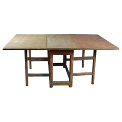 Large 19th Century Swedish Slagbord or Drop-Leaf Country Table