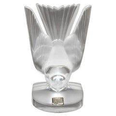 French Lalique Crystal Pecking Sparrow Paperweight Sculpture