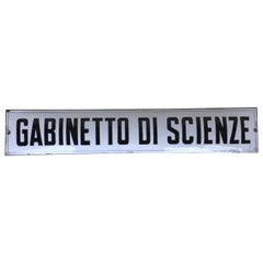 "1930s Vintage Italian Enamel Metal Sign ""gabinetto di scienze"", 'science lab'"