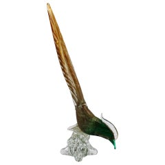 Murano Glass Bird with Gold Flecks, circa 1960