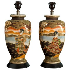 Pair of Japanese Satsuma Table Lamps