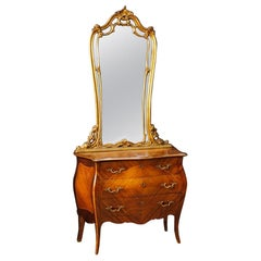 20th Century Wood Italian Dresser with Gilt Mirror, 1960