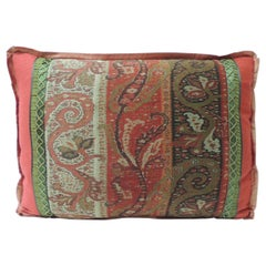 19th Century Red and Black Kashmir Paisley Lumbar Decorative Pillow