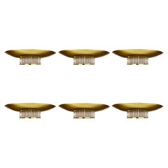 """Three Pairs of Late 20th Century """"Space Age"""" Gold & Transparent Glass Sconces"""