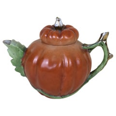 1900s Edwardian Porcelain Pumpkin Shaped Teapot Made in England