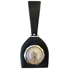 Jacques Adnet Style Mid-Century Modern Leather Barometer, France, 1950s