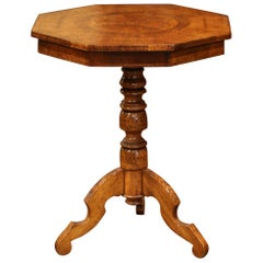 French Octagonal Carved Walnut Pedestal Gueridon Table with Inlay Decor