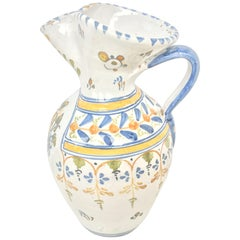 19th Century Glazed Earthenware Talavera Floral Painted Pitcher