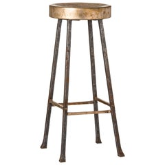 Round Bronze Bar Stool with Forged and Hammered Steel Legs