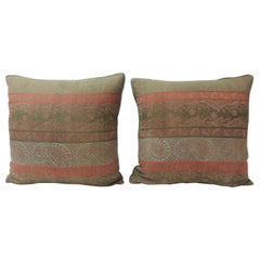 Pair of 19th Century Antique Woven Red Kashmir Paisley Square Decorative Pillows