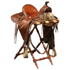Early 20th Century French Brown Leather Horse Saddle and Stand from Camargue