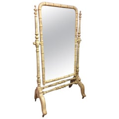 20th Century French Free Standing Faux Bamboo Mirror on Wheels, 1920s