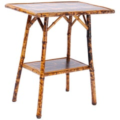 Antique Bamboo Occasional Table with Horse Motif