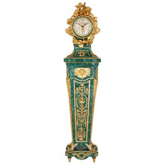 Louis XVI Style Malachite and Gilt Bronze Longcase Clock