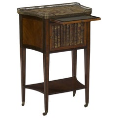 19th Century French Antique Writing Stand Accent Table with Book-Spine Door