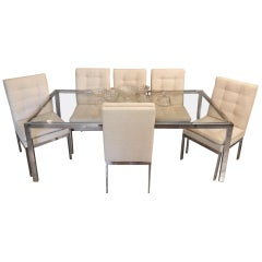 Milo Baughman Extension Table with 6 Dining Chairs