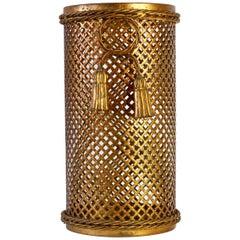 1950s Italian Hollywood Regency Gold Gilded Umbrella Stand or Waste Paper Basket